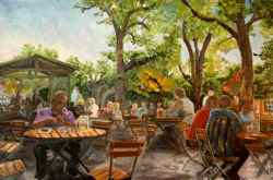 "Dreaming of Beer Garden Weather; courtesy of ""http://www.floggingthemuse.com/2012/02/munich-beer-garden-paintings.html."""