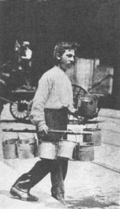 Bucket Boy Delivering Beer Growlers