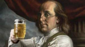 Benjamin Franklin ready to Prost his beer!