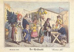 Christmas Market in Germany, 19th c. Postcard