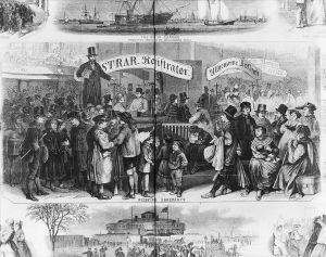 """Immigrants at Castle Garden, New York City, 1866. Wood engraving in """"Frank Leslie's Illustrated Newspaper"""", 20 January 1866, vol. 21, p. 280-281."""
