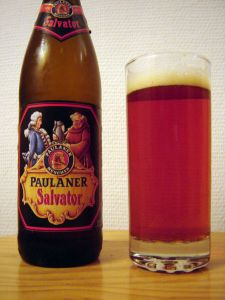"The original Doppelbock beer, the ""Salvator"" produced by Paulaner-München."