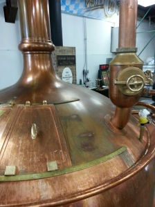 Copper brewing equipment at Prost Brewing