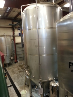 The 120-barrel fermenter at Prost Brewing