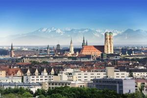 Munich, the capital of Bavaria, with the Bavarian Alps in the background.